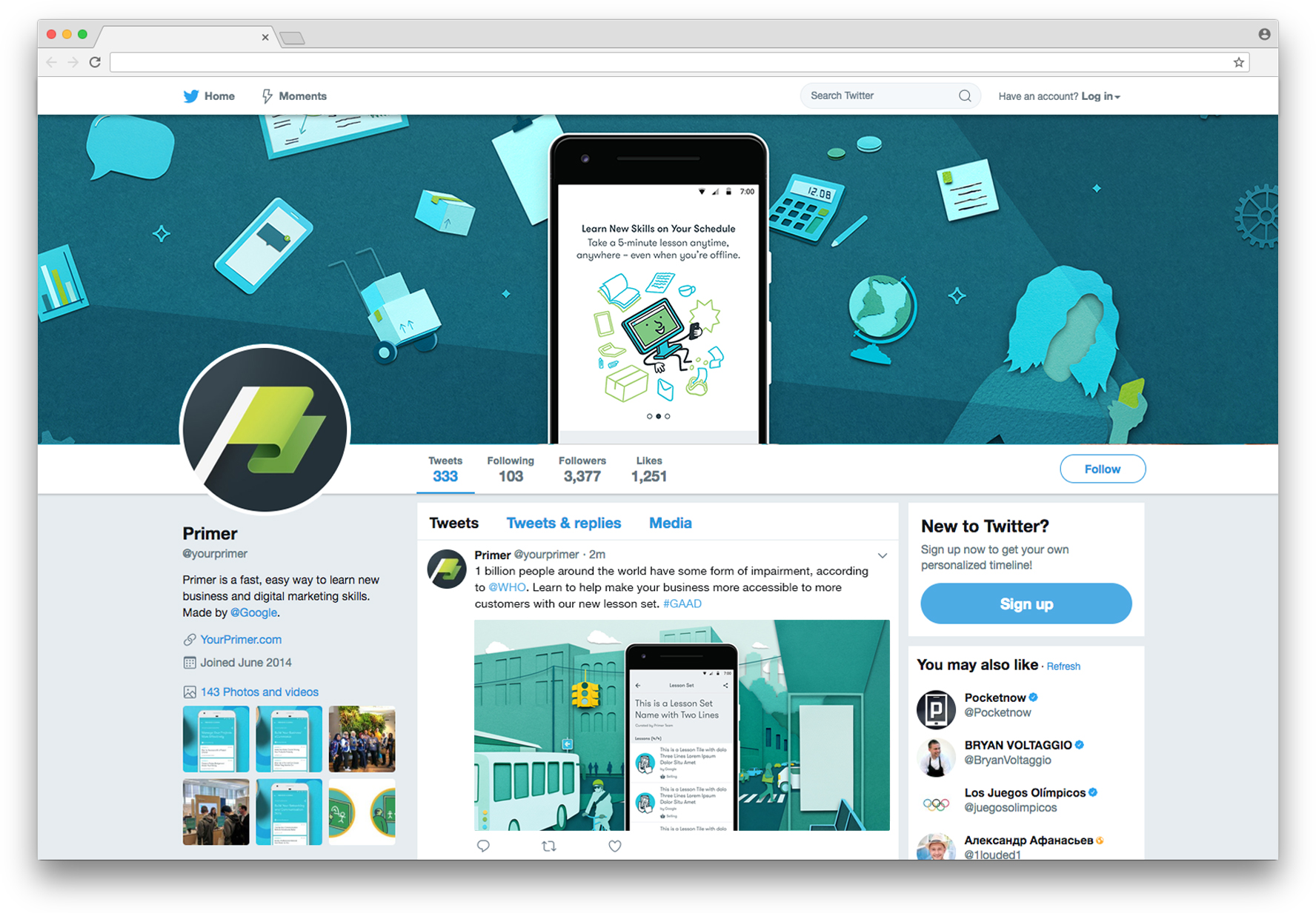 Primer Twitter feed